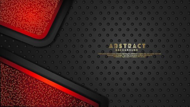 Fond de couches de chevauchement rouge et noir foncé futuriste et dynamique avec effet de paillettes. motif de points de demi-teintes réaliste sur fond sombre texturé