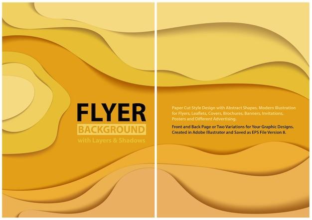 Fond en couches jaune avec des ombres et des formes ondulées abstraites