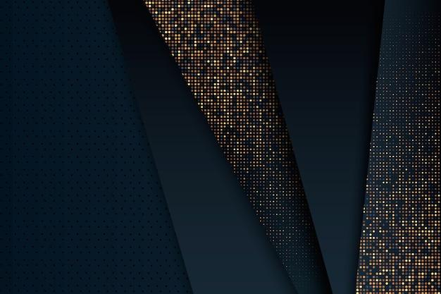 Fond de couches de papier foncé avec des détails dorés