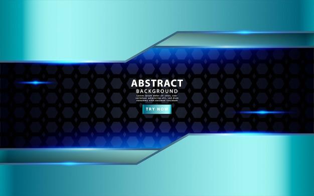 Fond de couches de superposition bleu argent moderne. effet de lumière réaliste sur fond noir texturé du pentagone.