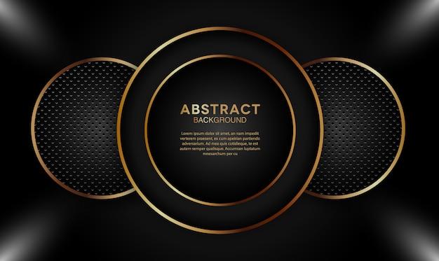 Fond de couches de superposition sombre élégant avec forme de cercle d'or