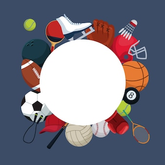 Fond de couleur avec cadre circulaire et éléments d'icônes autour de sport