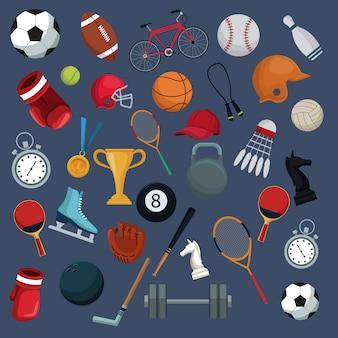 Fond de couleur avec des éléments de collection ensemble sport