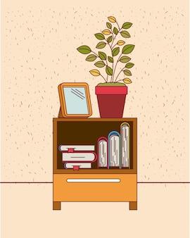 Fond de couleur avec des étincelles et une table d'armoire décorative avec des livres et un pot