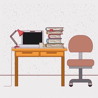 Fond de couleur avec intérieur de bureau étincelles au travail avec des livres d'ordinateur portable et de pile