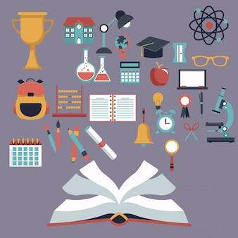 Fond de couleur avec un livre ouvert et définir des éléments de l'école