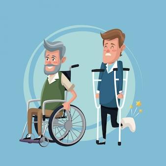 Fond de couleur mis homme âgé en fauteuil roulant et homme en béquilles