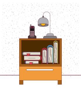 Fond de couleur avec table de chevet étincelante avec lampe de téléphone et livres