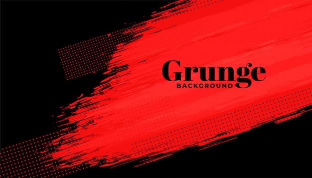 Fond de coup de pinceau abstrait grunge rouge et noir