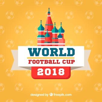 Fond de coupe du monde de football dans le style plat