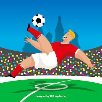 Fond de coupe du monde de football avec joueur