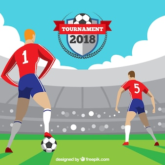 Fond de coupe du monde de football avec des joueurs dans le domaine