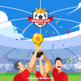 Fond de coupe du monde de football avec des joueurs tenant un trophée