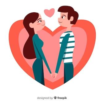Fond de couple romantique dessiné à la main