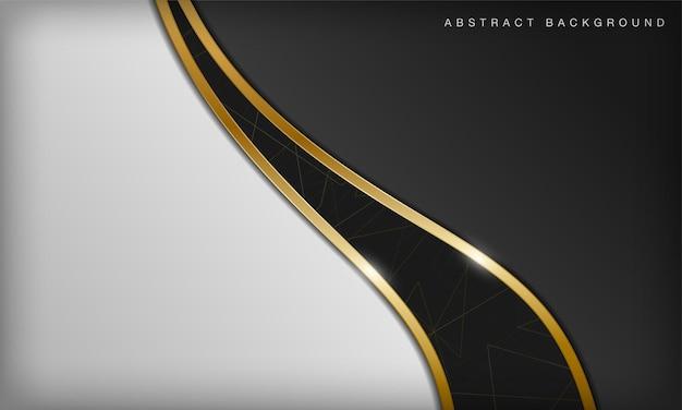 Fond de courbe noir et blanc abstrait de luxe avec des éléments dorés de ligne