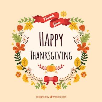 Fond de couronne florale de thanksgiving
