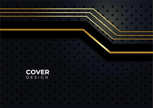 Fond de couverture d'entreprise de luxe, décoration abstraite, motif doré, dégradés de demi-teintes, illustration vectorielle 3d. modèle de couverture en or noir, formes géométriques, bannière minimale moderne