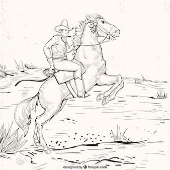 Fond cowboy dans le style vintage