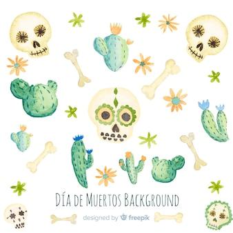 Fond de crâne aquarelle dia de muertos