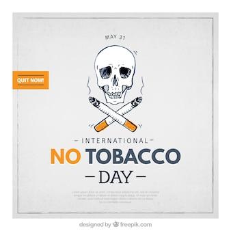 Fond crâne avec des cigares dessinés à la main