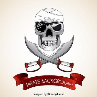 Fond de crâne pirate avec des épées