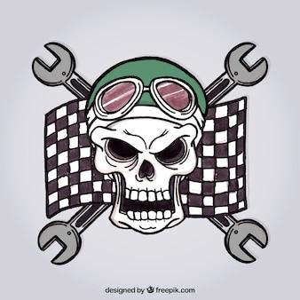 Fond crâne sauvage avec le drapeau de course