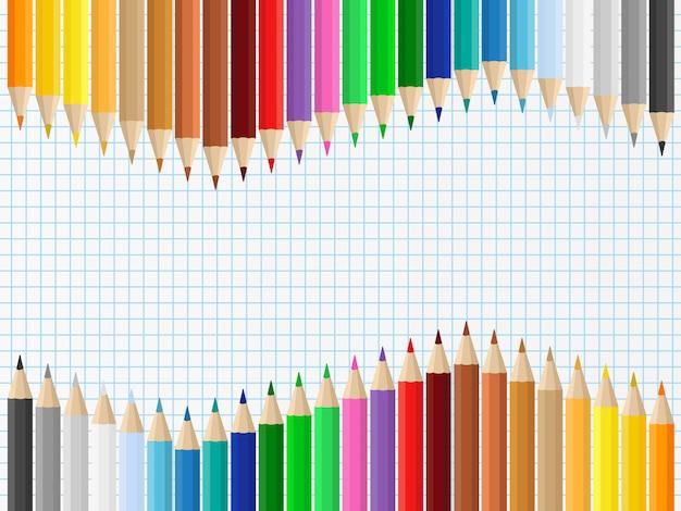 Fond avec des crayons de couleur