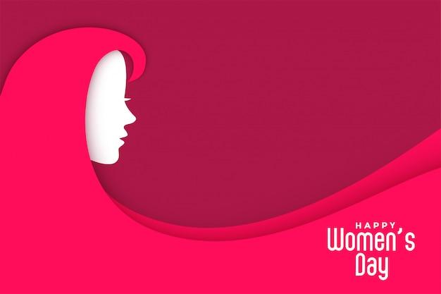 Fond créatif de la journée des femmes avec le visage de la dame