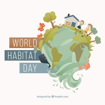 Fond creative de la journée mondiale de l'habitat