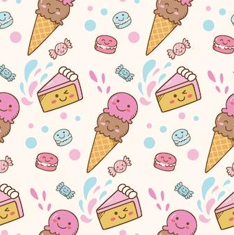 Fond de crème glacée kawaii