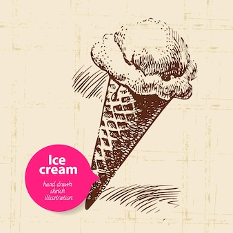 Fond de crème glacée sucrée vintage avec bulle de couleur. illustration dessinée à la main