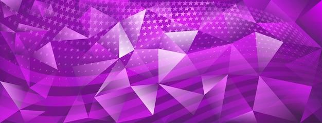 Fond de cristal abstrait de la fête de l'indépendance des états-unis avec des éléments du drapeau américain dans des couleurs violettes