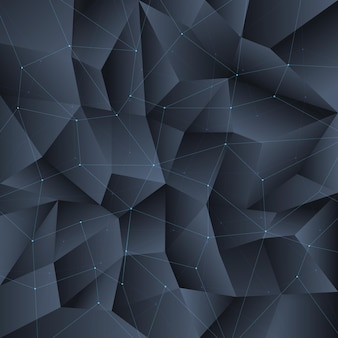 Fond de cristal noir polygone avec structure de lignes de connexion. polygone de motif d'arrière-plan, polygone géométrique cristallin, structure de polygone de forme.