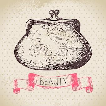 Fond de croquis de beauté. illustration vectorielle dessinés à la main vintage de cosmétique
