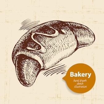 Fond de croquis de boulangerie. illustration dessinée à la main vintage