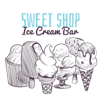Fond de croquis de crème glacée. desserts crémeux glacés dessinés à la main, cône de gaufrette sundae glaçage au chocolat fruits noix menu rétro