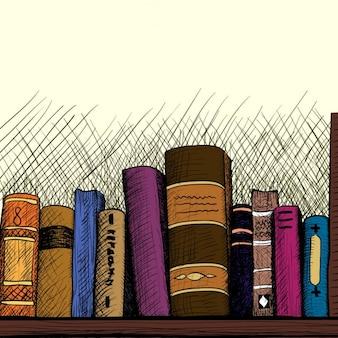 Fond croquis avec une étagère de livres