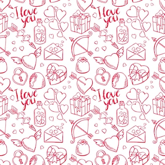 Fond de croquis sans couture de la saint-valentin. coeur, cadeaux, bonbons. illustration dessinée à la main