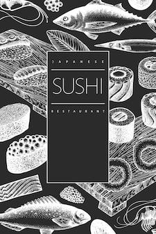Fond de cuisine asiatique de style rétro.