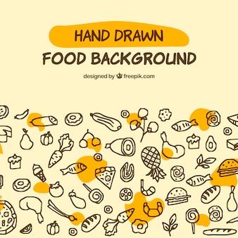 Fond de cuisine délicieuse avec style dessiné à la main