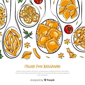 Fond de cuisine italienne dessiné à la main