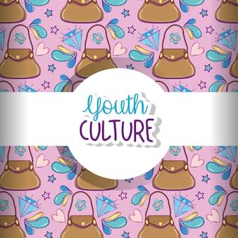 Fond de culture de la jeunesse avec des dessins animés mignons vector graphisme illustration