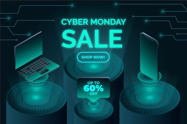 Fond de cyber lundi futuriste isométrique