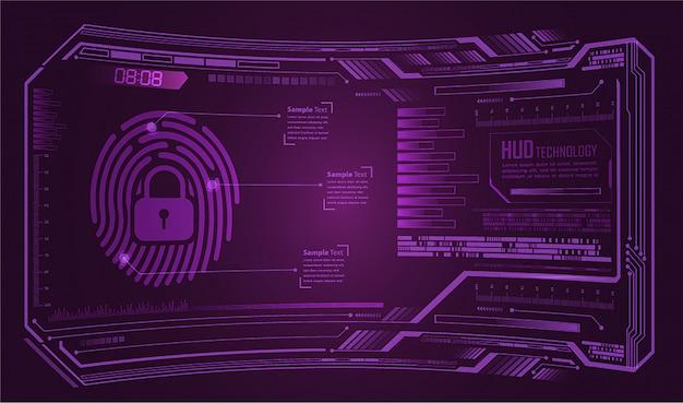 Fond de cyber-sécurité du réseau hud d'empreintes digitales. cadenas fermé
