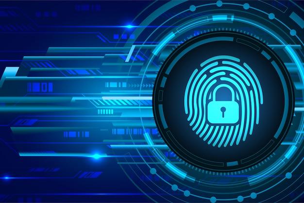 Fond de cyber-sécurité réseau d'empreintes digitales, cadenas fermé