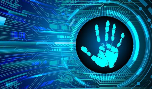 Fond de cybersécurité du réseau d'impression de main de doigt