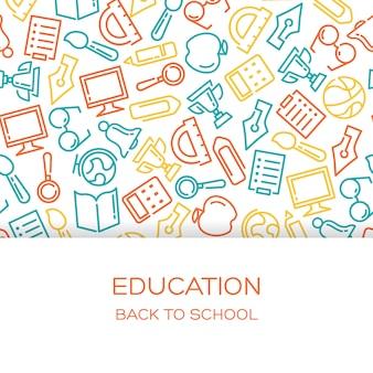 Fond d'éducation avec des icônes alignés