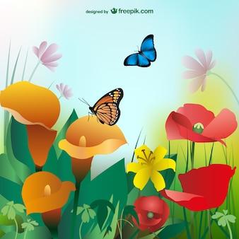 Fond d'été avec les fleurs colorées et les papillons