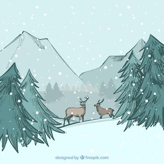 Fond d'hiver dessiné à la main avec des rennes