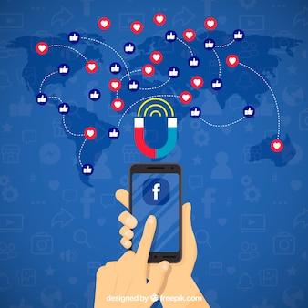 Fond d'influencer Facebook avec decive et émoticônes